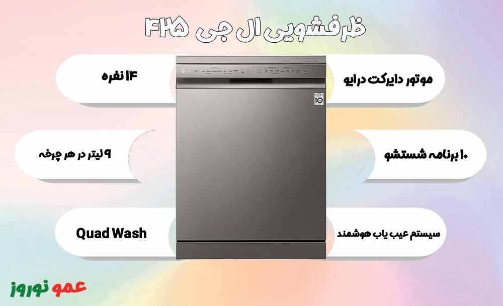 معرفی ماشین ظرفشویی ال جی 425